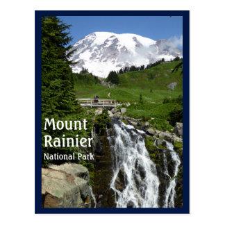 Myrtle Falls (Mount Rainier N.P.) with text Postcard