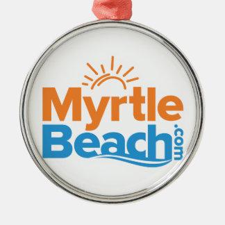 MyrtleBeach.com Logo Silver-Colored Round Decoration