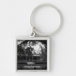 Myrtles Plantation in black and white Silver-Colored Square Key Ring