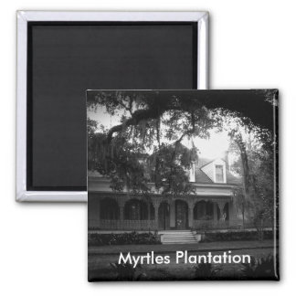 Myrtles Plantation in black and white Square Magnet