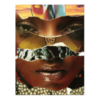 Mysterious Abstract Woman Collage Postcard
