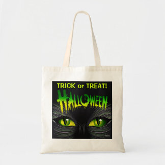 Mysterious Black Cat Halloween Trick or Treat Canvas Bags