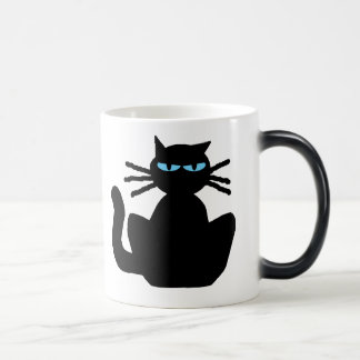 Mysterious Black Cat with Blue Eyes Magic Mug