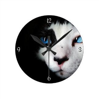 Mysterious Blue Eyed Tuxedo Cat Clock