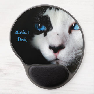 Mysterious Blue Eyed Tuxedo Cat Gel Mouse Pad