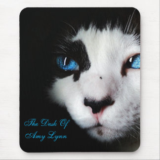 Mysterious Blue Eyed Tuxedo Cat MousePad