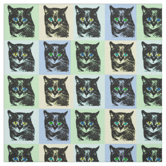 Mysterious Transparent Black Cat Fabric