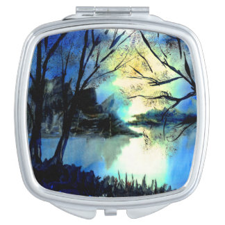 Mysterious Watercolour Sunset Lake Compact Mirror