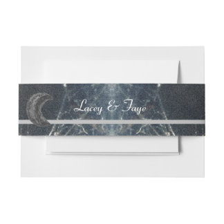 Mysterious Web Goth Gothic Black Gray Handfasting Invitation Belly Band