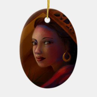 Mysterious Woman Ceramic Ornament