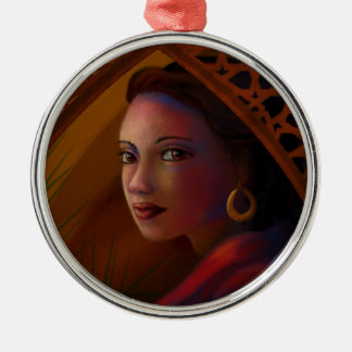 Mysterious Woman Metal Ornament