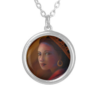 Mysterious Woman Silver Plated Necklace