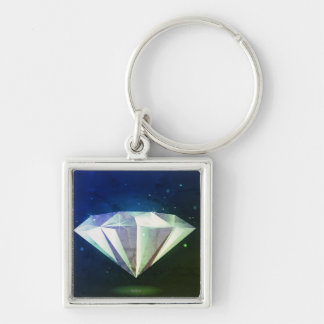Mystery necklace : with Diamond Silver-Colored Square Key Ring