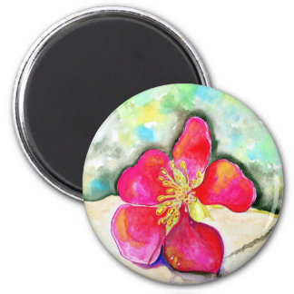 Mystery Pink Flower Watercolor Magnet