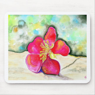 Mystery Pink Flower Watercolor Mouse Pad