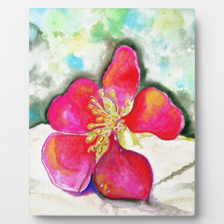 Mystery Pink Flower Watercolor Plaque