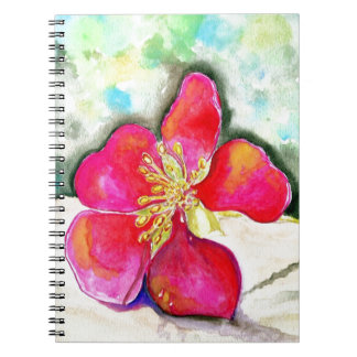 Mystery Pink Flower Watercolor Spiral Notebook