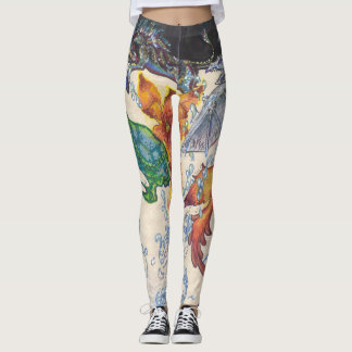 Mystic animals coming out of flower leggings