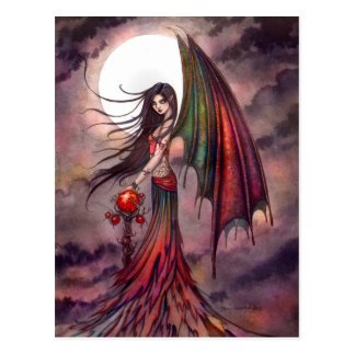Mystic Autumn Vampire Halloween Fairy Fantasy Art Postcard