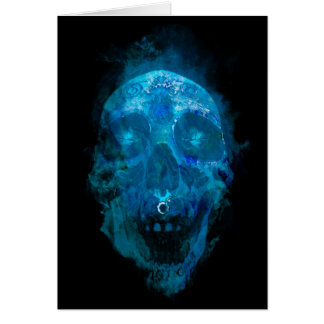 Mystic Blue Sugar Skull Card