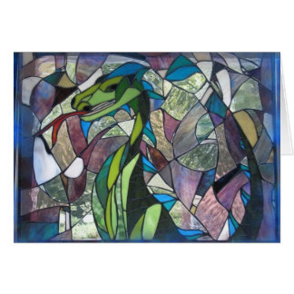 Mystic Dragon stained glass greeting card