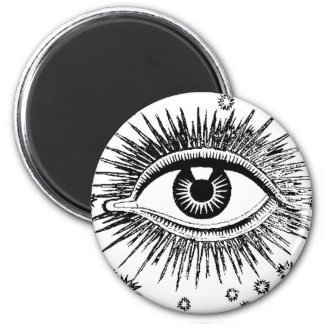 Mystic Eye Sees All Eyeball Watching You Weird Art 6 Cm Round Magnet