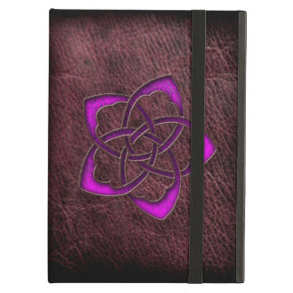 Mystic glow purple celtic flower on leather cover for iPad air