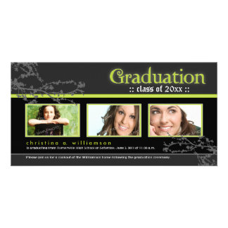 Mystic Goth Graduation Announcement (lime) Customised Photo Card