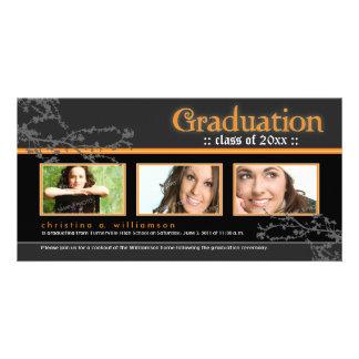Mystic Goth Graduation Announcement (orange) Photo Cards