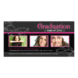 Mystic Goth Graduation Announcement (pink) Custom Photo Card