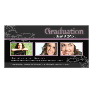 Mystic Goth Graduation Announcement (purple) Personalised Photo Card