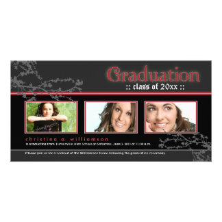Mystic Goth Graduation Announcement (red) Personalized Photo Card