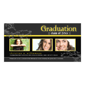 Mystic Goth Graduation Announcement yellow Photo Card Template