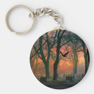 Mystic Grave Yard Basic Round Button Key Ring