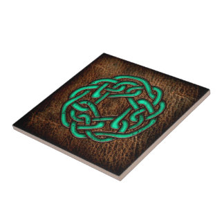 Mystic green celtic knot on leather tile