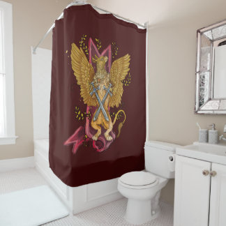 Mystic Gryphon with swords Shower Curtain
