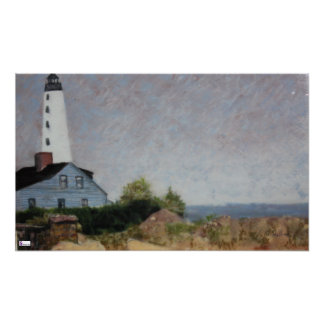 Mystic Harbor Lighthouse Poster Print