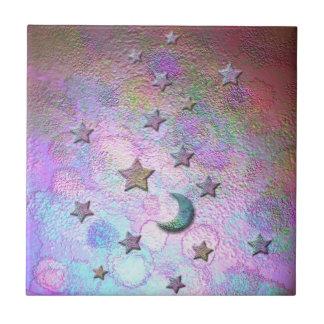 Mystic Metallic Moons and Stars Pastel Tile