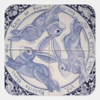 Mystic Navy Blue White Rabbit Trio Design Sticker