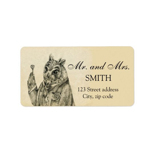 Mystic owl in a suit vintage address label