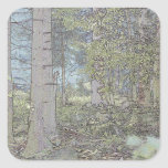 Mystic spruce forest square sticker