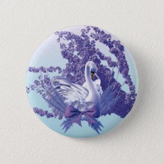 mystic swan 6 cm round badge