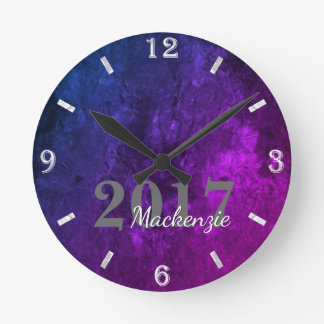 Mystic-Topaz Grad | Year Blue Pink Purple Ombre | Round Clock