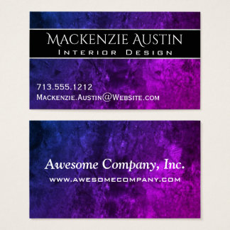 Mystic-Topaz Office   Chic Blue Purple Pink Ombre Business Card