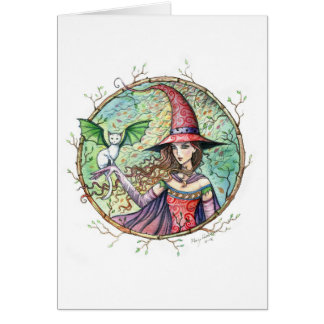 Mystic Wood Halloween Witch Cat Card