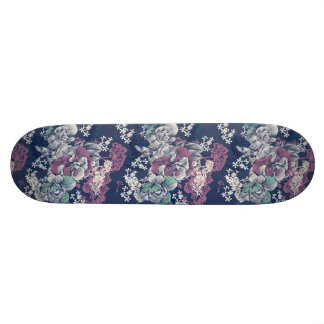 Mystical Blue Purple floral sketch artsy pattern 21.6 Cm Old School Skateboard Deck