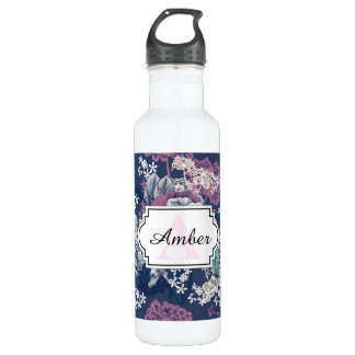 Mystical Blue Purple floral sketch artsy pattern 710 Ml Water Bottle
