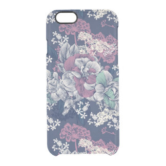 Mystical Blue Purple floral sketch artsy pattern Clear iPhone 6/6S Case