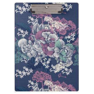 Mystical Blue Purple floral sketch artsy pattern Clipboard