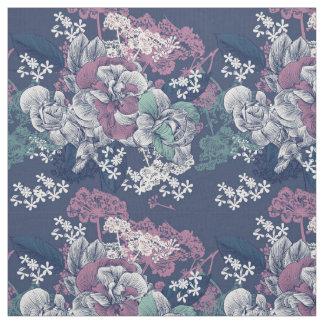 Mystical Blue Purple floral sketch artsy pattern Fabric